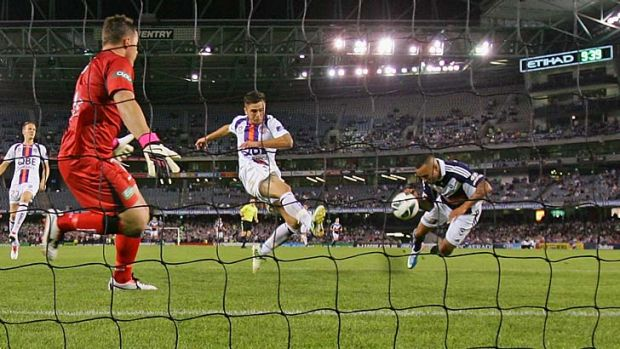 Scene-stealer: Archie Thompson scores the winner for the Melbourne Victory against Perth in Friday's elimination final.