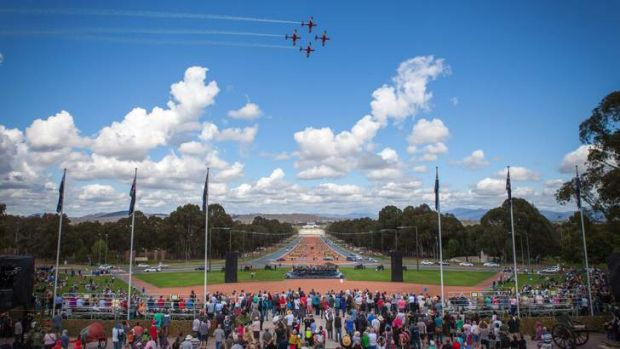 RAAF Roulettes fly in formation as a part of the Australian War Memorial's celebrations.