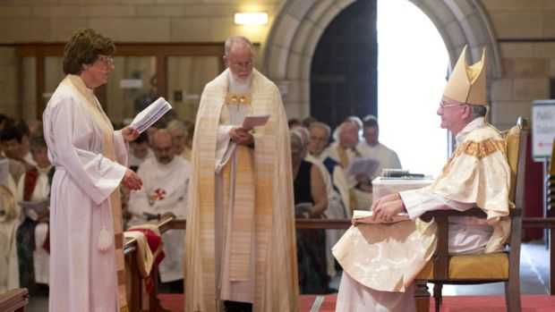 A congregation watches on as Archdeacon Alison Taylor is consecrated as Queensland's first Anglican woman bishop at St ...
