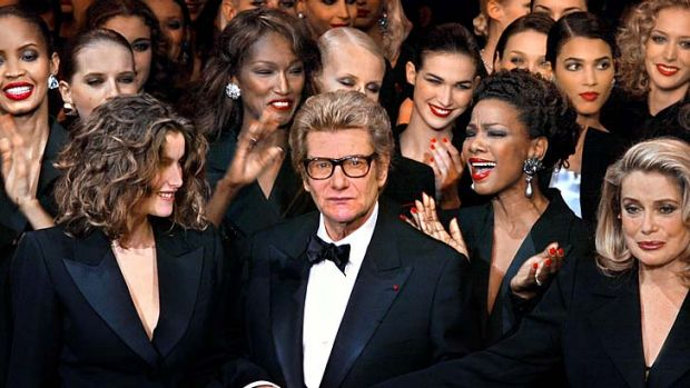 Biopics: Yves Saint-Laurent (center) will be the subject of two rival films.