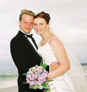 Curtis and Allyson McConnell on their wedding day in Australia.