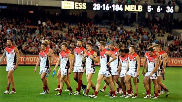 Melbourne walk in after losing to Essendon.