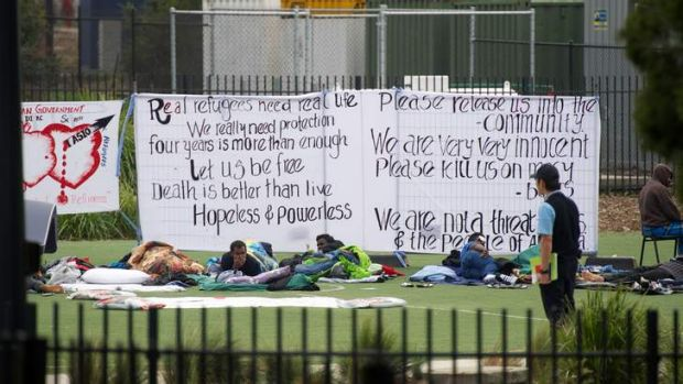 Hunger striking asylum seekers at the Broadmeadows detention centre in Melbourne.