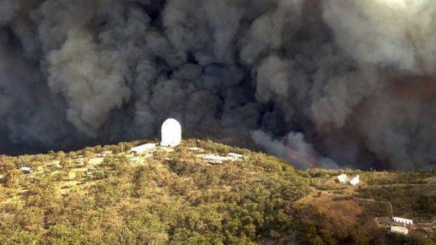 The Wambelong fire burns near the Siding Springs Observatory, about 350km north west of Sydney in January.