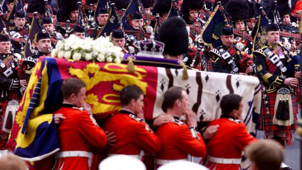 The funeral of the Queen Mother in 2002. Lady Thatcher's will follow the same ceremonies.