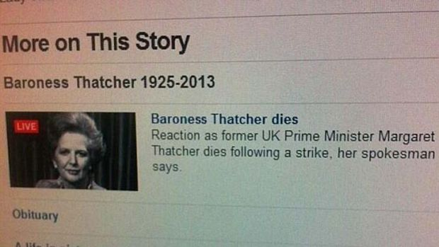 """The BBC mobile website claimed for a brief time that Margaret Thatcher had died from a """"strike""""."""