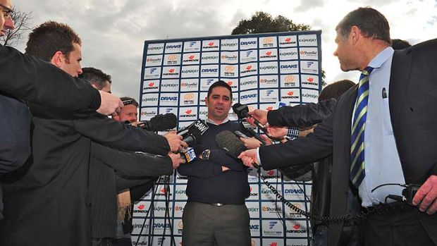 On the other side of the microphone: Garry Lyon faces the media, in 2011.