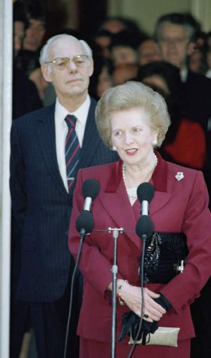 Margaret Thatcher leaves 10 Downing Street after resigning as prime minister in 1990.