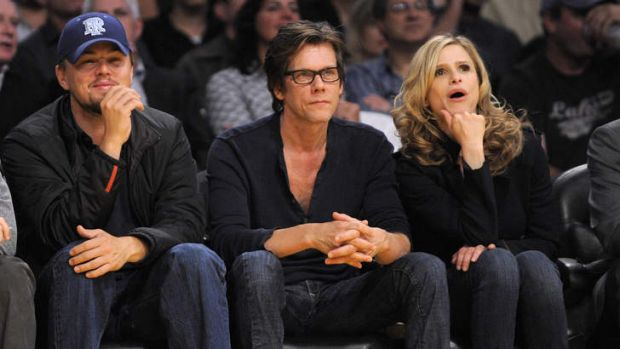 Off screen ... actors Leonardo DiCaprio, left, Kevin Bacon and Kyra Sedgwick at a basketball game.