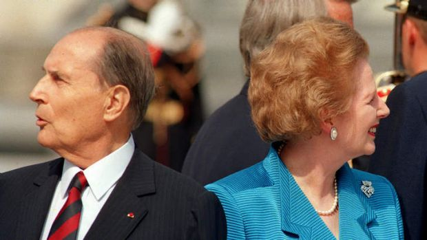Different directions ... French president Francois Mitterrand with Margaret Thatcher in 1989. Her relations with ...