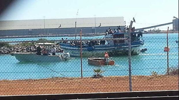 The boat that arrived in Geraldton with up to 72 on board.