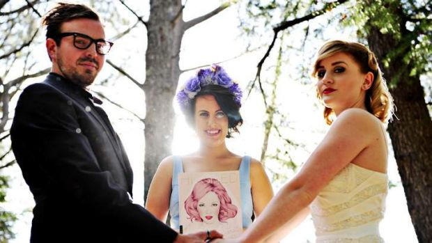 Editor of the Canberra newest Bridal Magazine Hitched (blue)  Renee Douros with Andrew Corich and Maddie Emery.
