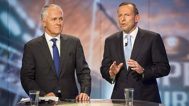The need for speed: Malcolm Turnbull and Tony Abbott announce the Coalition policy on Tuesday.