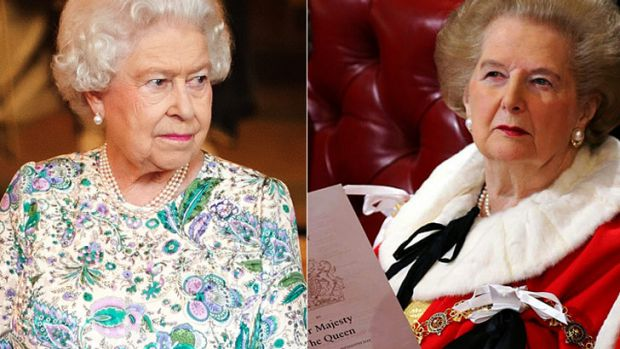 A case of mistaken identity ... Queen Elizabeth II, left, has some uncanny similarities to the late Margaret Thatcher, ...