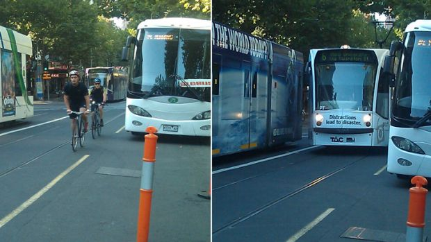 Tight squeeze ... A tourist bus parked illegally on Swanston Street, now Melbourne's busiest bike route.