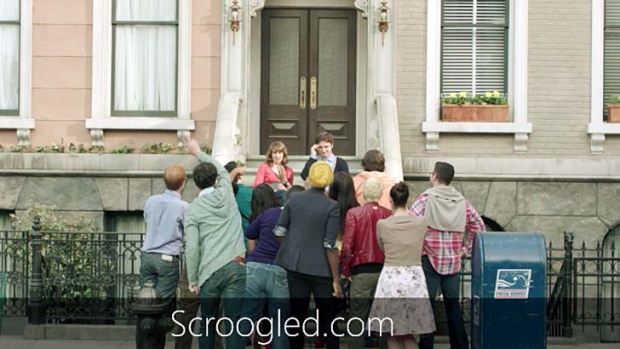 Scroogled: A scene from the latest in a series of scathing Microsoft ads against Google.