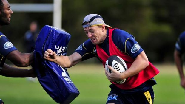 Brumbies player Jesse Mogg in action during training at Portsea Oval, Duntroon, Canberra.