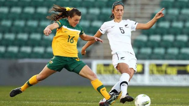 Coming to Canberra ... Hayley Raso of Australia and Abby Erceg of New Zealand contest possession. It's believed the two ...
