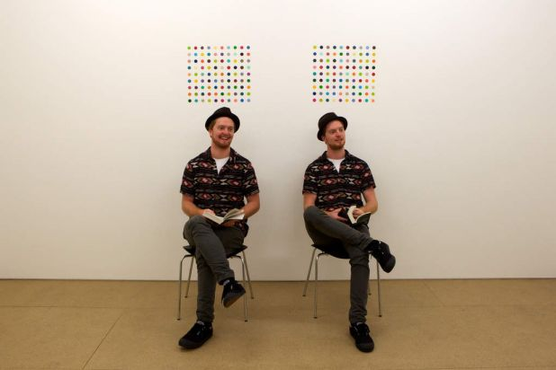 This performance piece features identical twins, by Damien Hirst.