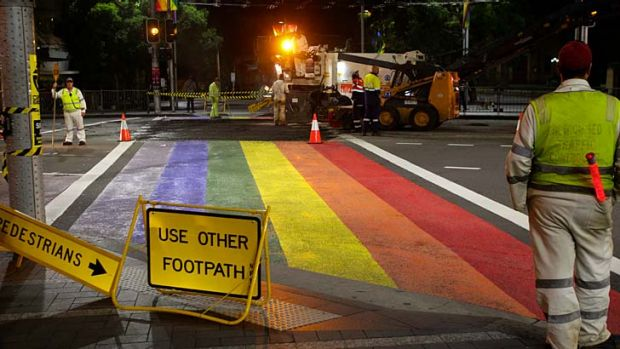 Cover-up: the rainbow pedestrian crossing is no more.