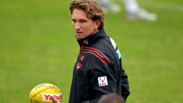 James Hird at Essendon training on Thursday morning.