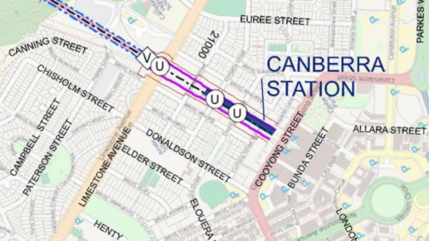 The proposed location of a Canberra high-speed rail station. (U = under road, V = vent)