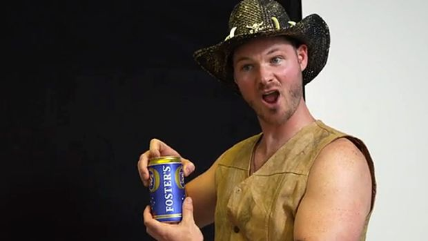 'It's Oarstraylian for beer' ... Brian Guest takes the piss, quite literally, in a fun online video aimed at Australian ...
