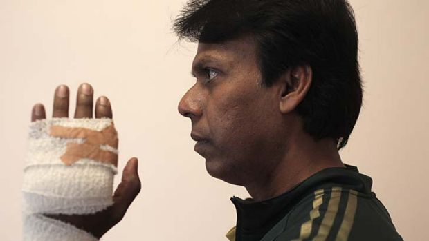 Jamil Hossain, who claims he was stabbed in the hand with a skewer at Red Chilli restaurant, Lakemba.