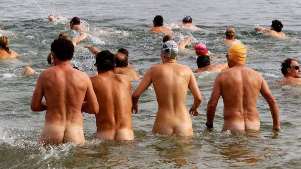 Cheeky: Swimmers at the Sydney Skinny, the city's first nude ocean swim.