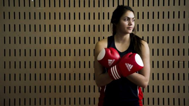 The AIS Netball squad's Keely Rodrigo after training with AIS boxing coach, Paul Perkins to improve the team's footwork.