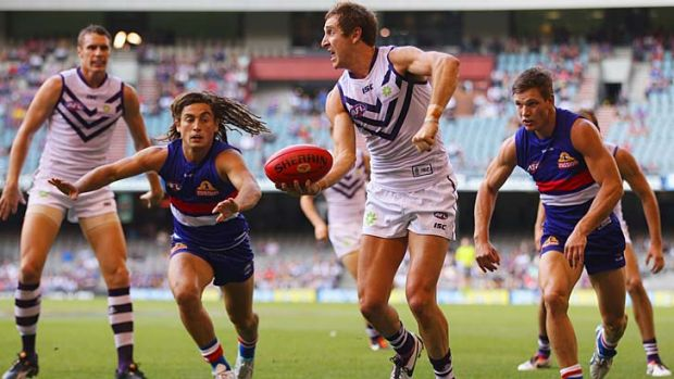 Fighting fit: Fremantle's Michael Barlow is playing at his peak again.