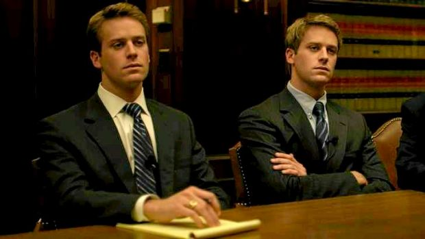 The Winklevoss twins, as played by actor Armie Hammer, in 'The Social Network'.
