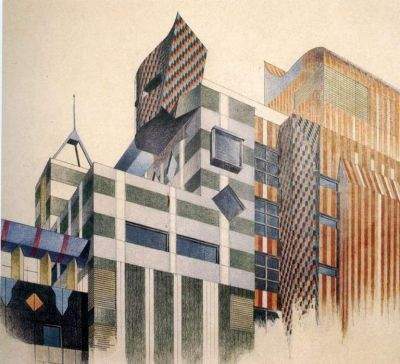 An architectural sketch by Peter Corrigan.
