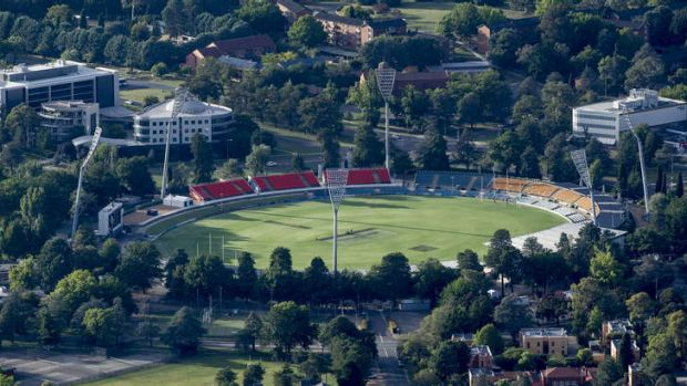 An aerial view of Manuka Oval.