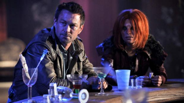 Grant Bowler and Stephanie Leonidas in new Foxtel series <i>Defiance</i>.