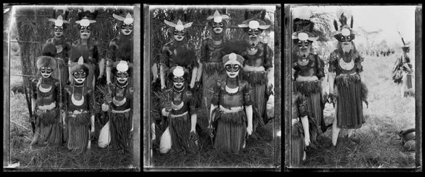 Stephen Dupont Sing-Sing triptych of tribal portraits was taken using a makeshift studio set up on Mount Hagen, Papua ...