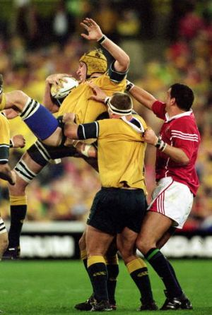 Justin Harrison in action against the British and Irish Lions in 2001.