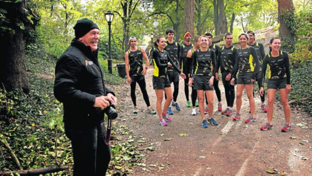 Deeks these days, with the Indigenous Marathon Project team before a training run in New York's Central Park.