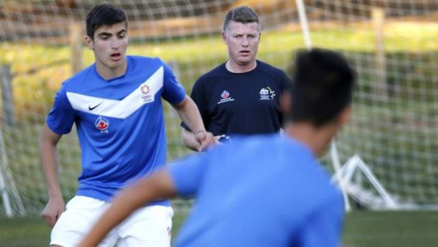 AIS Mens football assistant coach Ufuk Talay during a training session at the AIS.