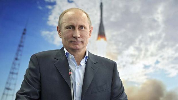 Back in the space race: Russian President Vladimir Putin launches the new program.