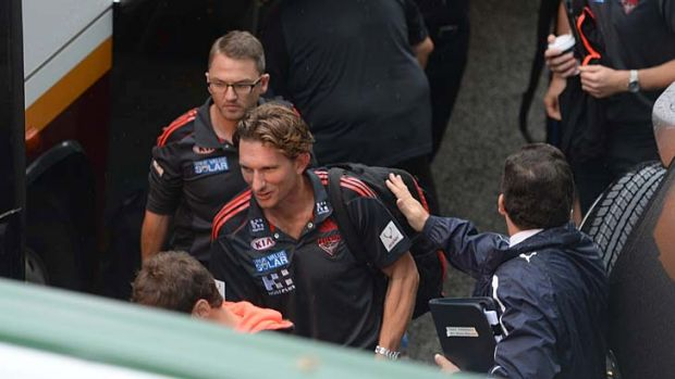 Essendon coach James Hird arrives at Patterson Stadium on Friday.