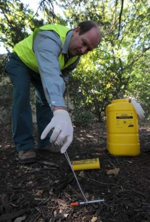 Territory and Municipal Services senior ranger Glenn Tomlinson collects a syringe on his rounds in an inner-north suburb.