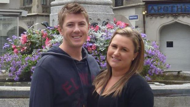 Matthew Bell pictured with his fiancee Samantha Pynappels in a photo taken from Facebook.