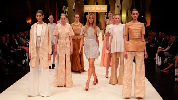 Jennifer Hawkins leads a show of Ellery designs at a Myer fashion launch in August 2011.