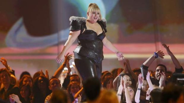 Rebel Wilson takes the stage to accept the award for breakthrough performance.