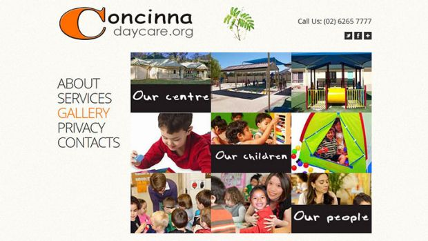 The web page for ''Concinna Day Care Centre''.