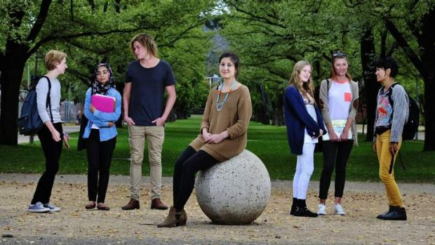 ANU students are of the view that under-funded universities will fail to attract students.  From left; Christina ...