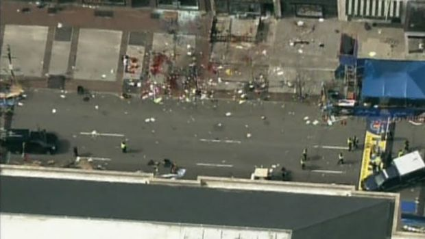 A still image taken from NBC TV footage shows the site of one of the blasts from above.
