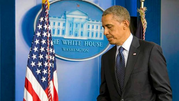 President Barack Obama leaves the podium at the White House after speaking about the Boston Marathon bombings.