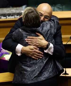Success: Greens MP Kevin Hague is congratulated by Labor MP Ruth Dyson.
